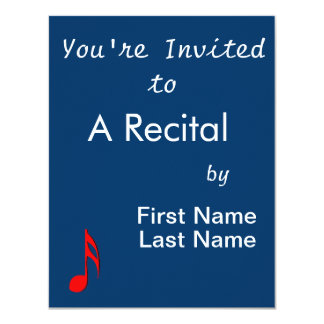 """eighth note red black music design.png 4.25"""" x 5.5"""" invitation card"""