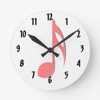 eighth note red black music design.png round clock