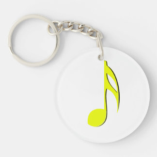 eighth note yellow black.png Double-Sided round acrylic keychain