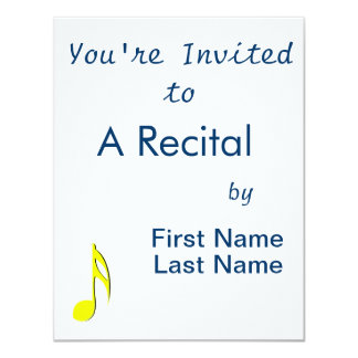 """eighth note yellow black.png 4.25"""" x 5.5"""" invitation card"""
