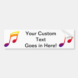 Eighth notes red yellow blue music design bumper sticker