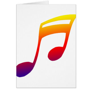 Eighth notes red yellow blue music design stationery note card