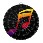 Eighth notes red yellow blue music design dart board