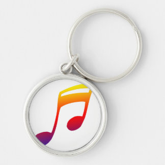 Eighth notes red yellow blue music design keychain