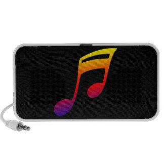 Eighth notes red yellow blue music design notebook speakers
