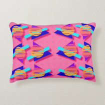 Eighties Memphis Neon Triangle Patterns Accent Pillow