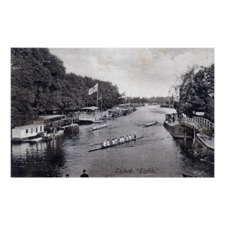 Eights Crew Rowing, Oxford England Vintage Poster