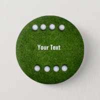 Eights golf balls are on green grass background button