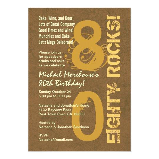 Eighty Rocks! 80th Birthday Party Modern Grunge Card