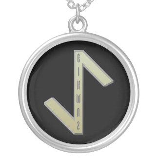 Eihwaz Rune gold Silver Plated Necklace