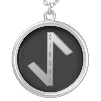 Eihwaz Rune grey Silver Plated Necklace