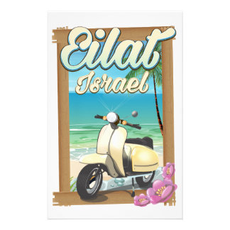 Eilat Beach Israel scooter travel poster Stationery