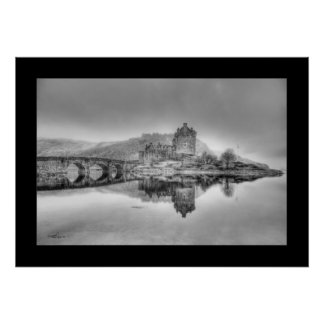 Eilean Donan Castle in Scotland, (Black and White) Posters