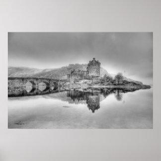 Eilean Donan Castle in Scotland, (Black and White) Poster