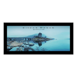Eilean Donan Castle Panoramic (Bordered) w/ text. Poster