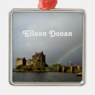 Eilean Donan Adorno Cuadrado Plateado