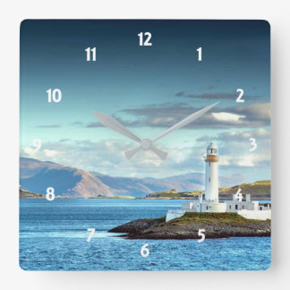 Eilean Musdile Lighthouse Scotland Scenic View Square Wall Clock