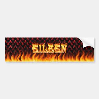 Eileen real fire and flames bumper sticker design.