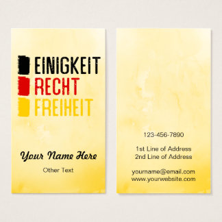 Einigkeit Recht Freiheit German Business Cards