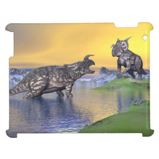 Einiosaurus dinosaurs by sunset - 3D render iPad Cover