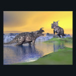 "Einiosaurus dinosaurs by sunset - 3D render Photo Print<br><div class=""desc"">Two einiosaurus dinosaurs arguing in a landscape with water,  mountains and green grass by sunset</div>"