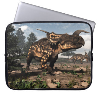 Einiosaurus dinosaurs in the desert - 3D render Laptop Sleeve