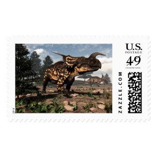 Einiosaurus dinosaurs in the desert - 3D render Postage