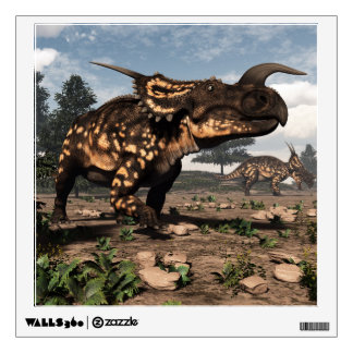 Einiosaurus dinosaurs in the desert - 3D render Wall Sticker