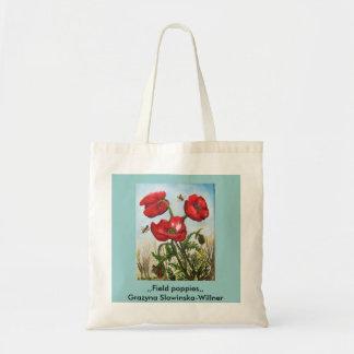 Einkaufstasche, flores de amapola de campo, bolsa tela barata