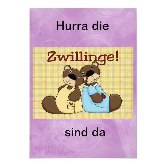 "einladung, baby, zwillinge, teddybären invitación 5"" x 7"""