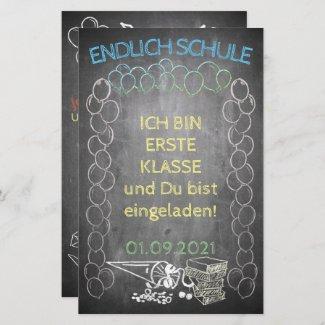 Einladungskarte zur Einschulung im Tafelstil