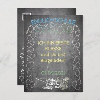 Einladungskarte zur Einschulung im Tafelstil Holiday Postcard