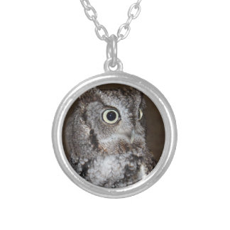 Einstein- Eastern Screech Owl III Round Pendant Necklace