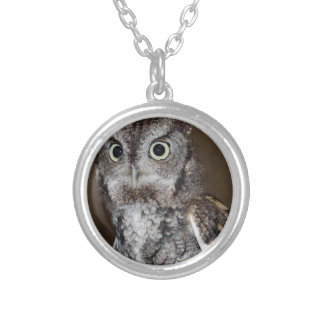 Einstein- Eastern Screech Owl IV Round Pendant Necklace