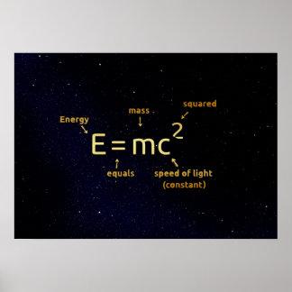 einstein mathematics formula on night stars poster