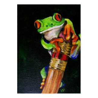Einstein the Red-Eyed Tree Frog ACEO Art Cards Large Business Card