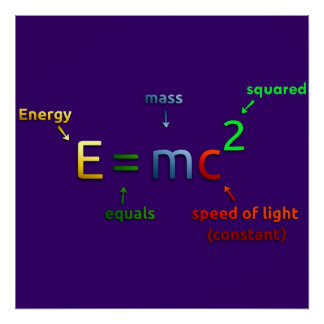 Einstein's Mass Energy Equivalence Poster Print