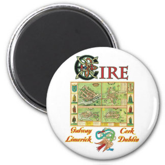 Eire Cities Map 2 Inch Round Magnet