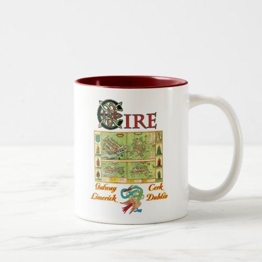 Eire Cities Map Two-Tone Coffee Mug