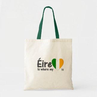 Éire es donde está irlandés mi corazón bolsa tela barata