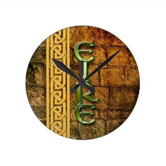 Eire, the Emerald Isle Round Clock