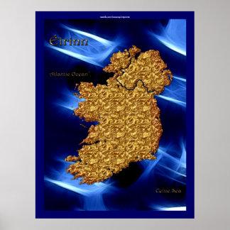 Éirinn Map of Ireland Art Poster