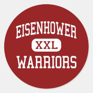 Eisenhower - guerreros - centro - Everett Pegatina Redonda