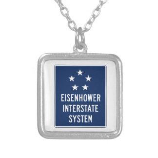 Eisenhower Interstate System Sign, USA Square Pendant Necklace