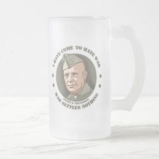 Eisenhower -War Frosted Glass Beer Mug