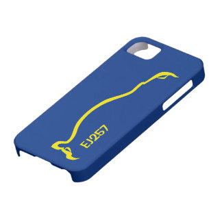"""""""EJ257"""" STI  Blue / Yellow Silhouette iPhone 5 Cases"""