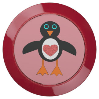 Eje lindo de la carga del pingüino del corazón del