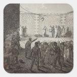 Ejecución de rehenes durante la comuna, 1871 pegatina cuadrada