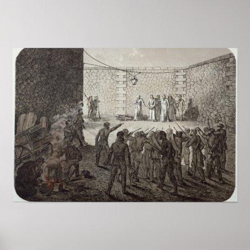 Ejecución de rehenes durante la comuna, 1871 póster