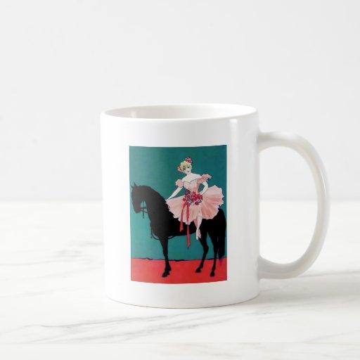 Ejecutante de circo del vintage con un caballo neg tazas